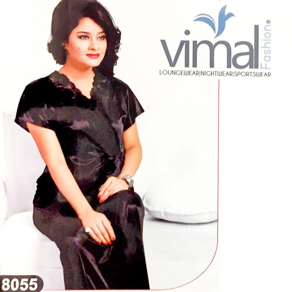 2 Pcs Wedding Nighty Set with Gown - V8055 - Black Satin Silk Nighty by Vimal Fashion - Nighty Sets - diKHAWA Online Shopping in Pakistan