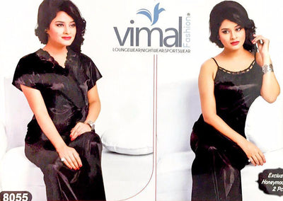Buy 2 Pcs Wedding Nighty Set with Gown - V8055 - Black Satin Silk Nighty by Vimal Fashion Online in Karachi, Lahore, Islamabad, Pakistan, Rs.1800.00, Ladies Nighty Sets Online Shopping in Pakistan, Vimal Fashion, best Nightwear Brands in pakistan, best Nighty Brands in pakistan, Brand_Vimal Fashion, Branded Nightwear, branded nighty, Bridal Nighty, Clothing, Colour_Black, Honeymoon Nighty, imported nighty, Ladies Nightwear, ladies Nightwear pakistan, Ladies Nighty, ladies undergarment pakistan, Lingerie & Nightwear, long nighty, Material_Satin, Material_Silk, Nightwear, Nightwear Online Shopping, Nightwear online shopping in pakistan, Nightwear pakistan, Nightwear shop, Nightwear.com, Nightwear.com.pk, N, Online Shopping in Pakistan - NIGHTYnight