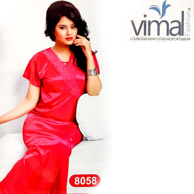 2 Pcs Wedding Red Long Nighty Set with Gown - V8058 - Satin Silk Nighty by Vimal Fashion - Nighty Sets - diKHAWA Online Shopping in Pakistan