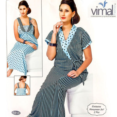 Designer 2 Pcs Nighty Set - Zebra Stripes & Polka Dotted Nighty Set - V5818 - Satin Silk Nighty by Vimal Fashion - Nighty Sets - diKHAWA Online Shopping in Pakistan