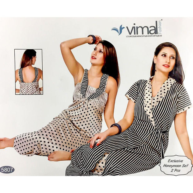 Designer 2 Pcs Nighty Set - Zebra Stripes & Polka Dotted Nighty Set - V5807 - Satin Silk Nighty by Vimal Fashion - Nighty Sets - diKHAWA Online Shopping in Pakistan