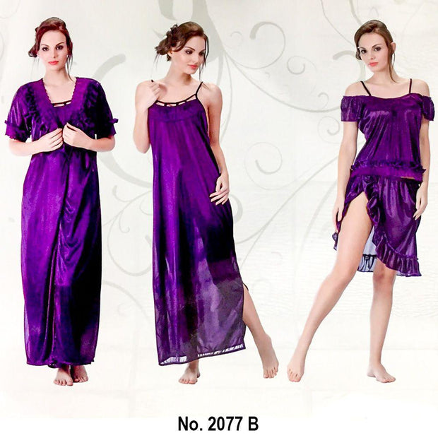 Designer 3 Pcs Nighty Set - SW-2077B - Satin Silk Nighty by Skin Wrap - Nighty Sets - diKHAWA Online Shopping in Pakistan