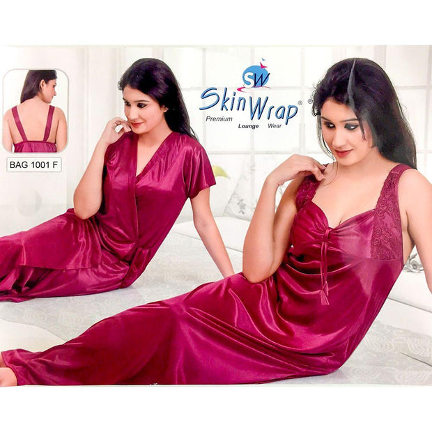Premium 2 Pcs Maroon Nighty Set - SW-1001F - Satin Silk Nighty by Skin Wrap - Nighty Sets - diKHAWA Online Shopping in Pakistan