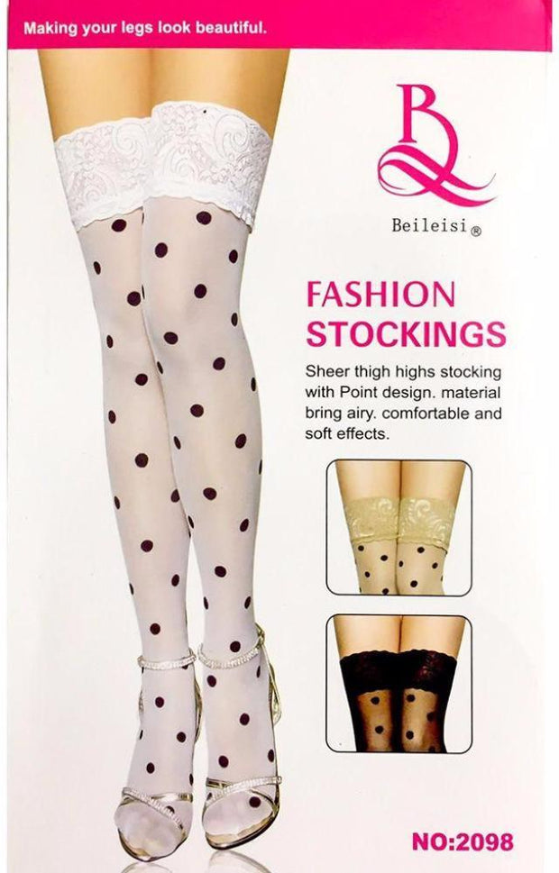 Beileisi Polka Dots Leg Stocking - 2098 - Leg Stocking - diKHAWA Online Shopping in Pakistan