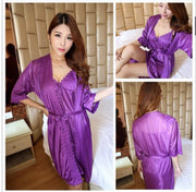 Short Night Dress & Full Sleeves Robe - Purple - Satin