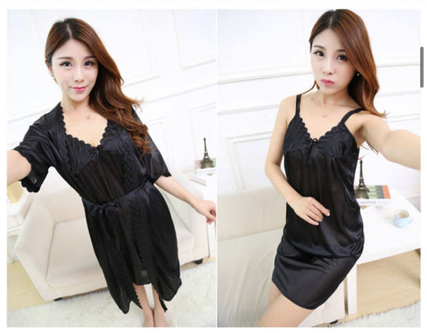 Short Night Dress & Full Sleeves Robe - Black - Satin