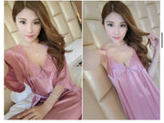 Short Night Dress & Full Sleeves Robe - Rose Pink - Satin