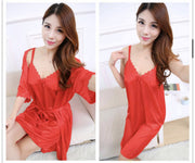 Short Night Dress & Full Sleeves Robe - Red - Satin