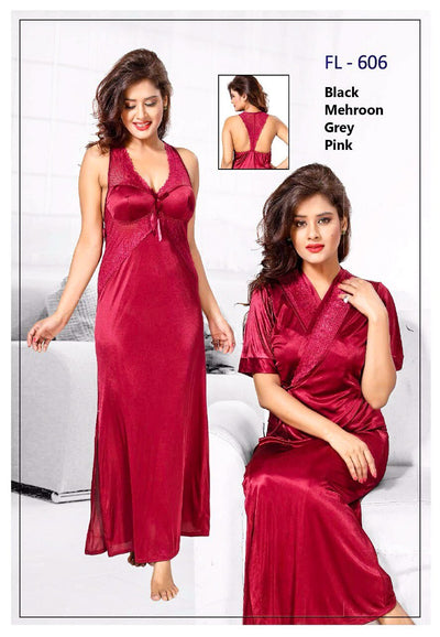 2 Pcs FL-606 - Maroon Flourish Exclusive Bridal Nighty Set Collection