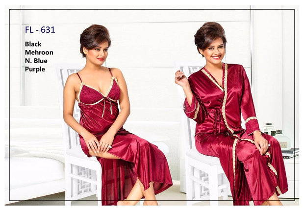 2 Pcs Maroon FL-631 - Flourish Exclusive Bridal Nighty Set Collection