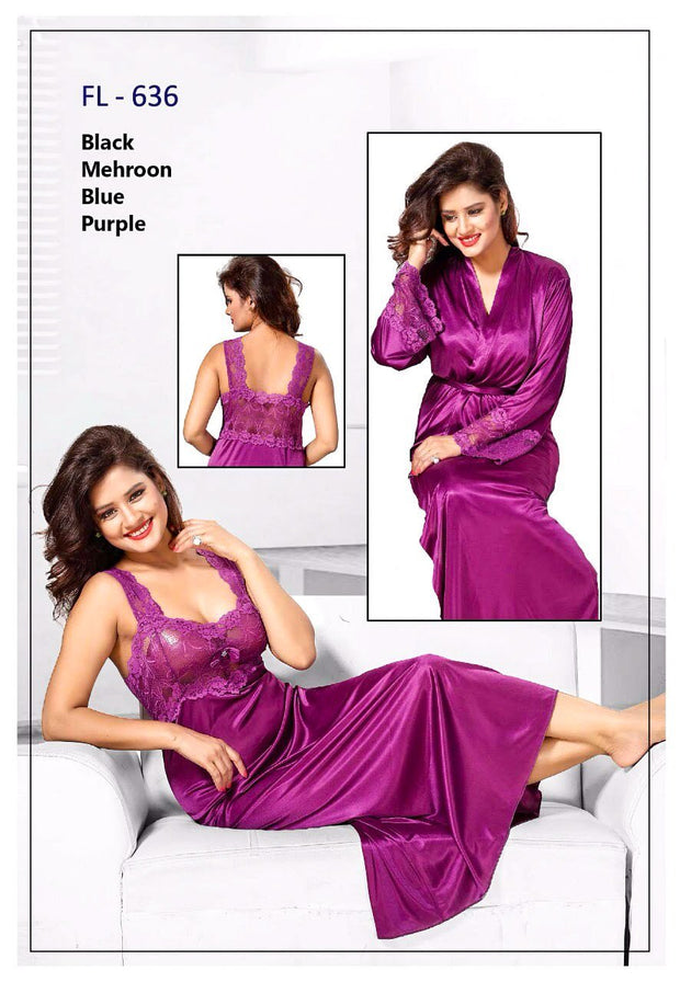 2 Pcs FL-636 - Magenta Flourish Exclusive Bridal Nighty Set Collection