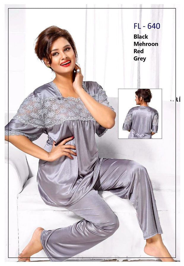 2 Pcs FL-640 - Grey Flourish Exclusive Bridal Nighty Set Collection