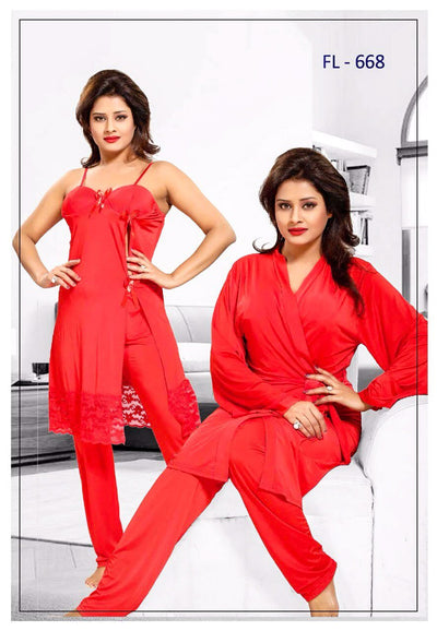 3 Pcs FL-668 - Red Flourish Exclusive Bridal Nighty Set Collection