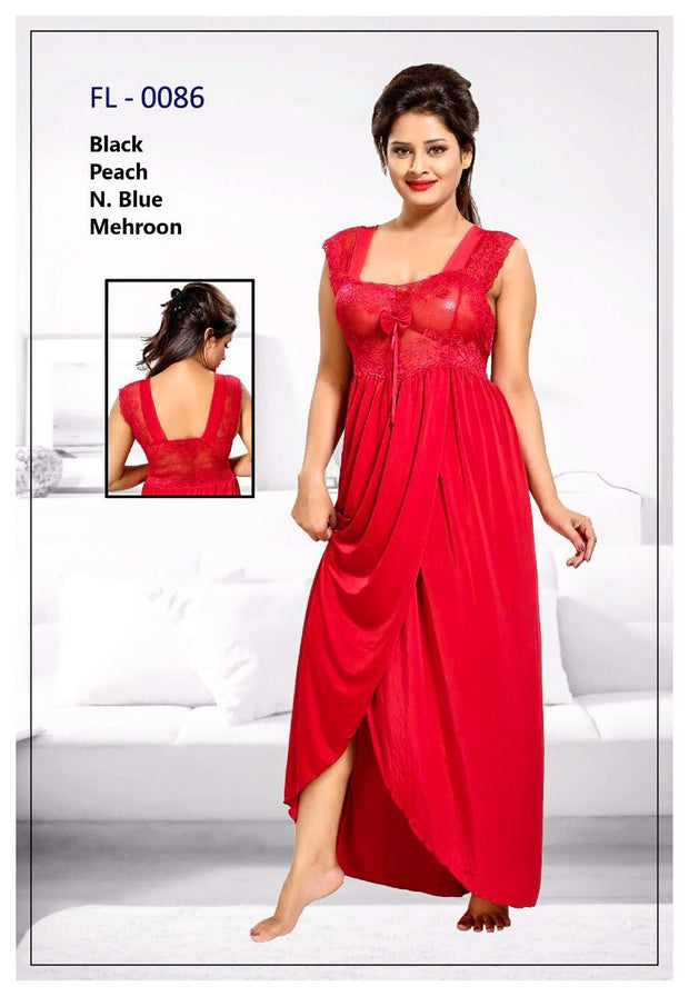 Maroon Stylish FL-0086 - Flourish Exclusive Bridal Nighty Set Collection