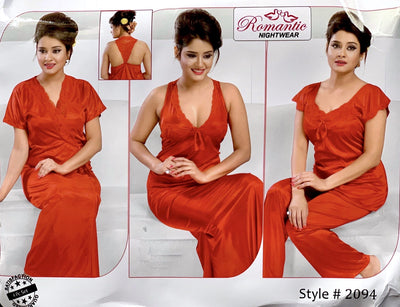 Romantic Nightwear - 4Pcs Bridal Nighty Sets - 2094 - Long Nighty with Gown & Pajama Set