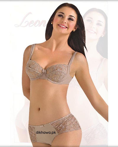 Sexy Bridal Net Lingerie Bra Panty Set - Rose Bra Panty Set - Grey