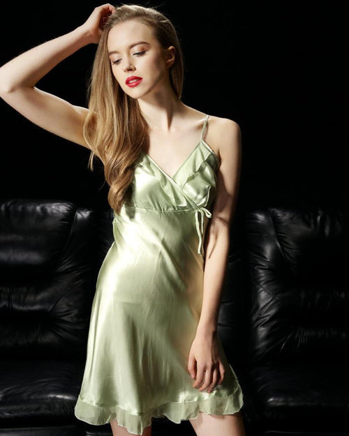 Light Green - Solid Satin Chemise With Chiffon – CHE10-LG