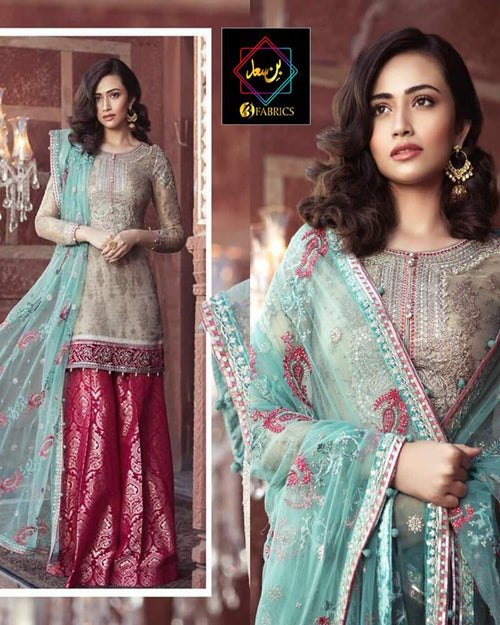 Maria B Net Embroidered Suit With Heavily Embroidered 4 Sided Border Applique Dupatta (Replica)(Unstitched)