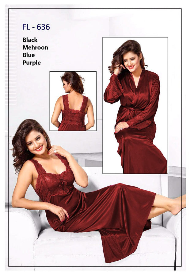 2 Pcs FL-636 - Maroon Flourish Exclusive Bridal Nighty Set Collection