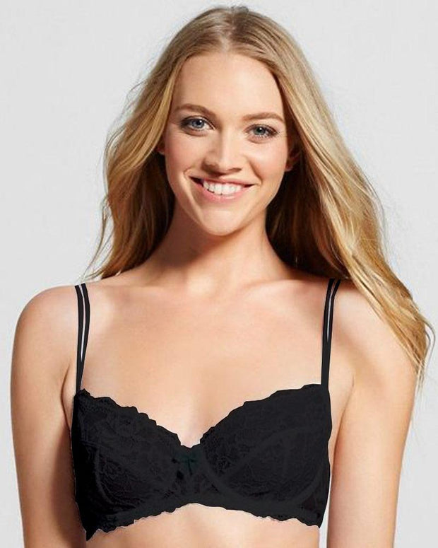 Black Net Bra , Non Padded - Underwired Bra - By Kelitha (Italian Brand)