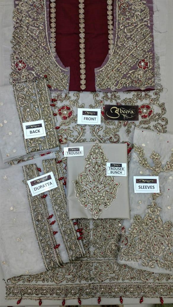 Aliza Waqar Net Dresses - Embroidered Net Dupatta - Replica - Unstitched