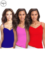 Pack of 3 Fancy Colourful Camisole for Girls - Mix Colours