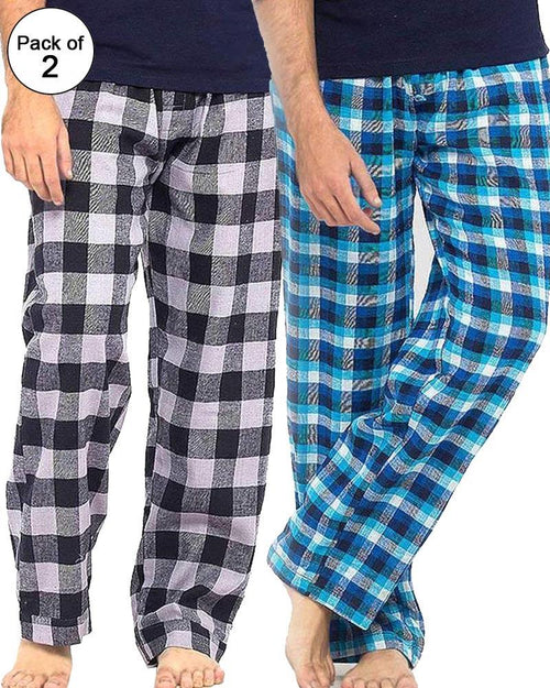 Pack of 2 - Men's Cotton Check Pajama - Cotton Yarn Dyed Flannel Men's Pajama MF-17