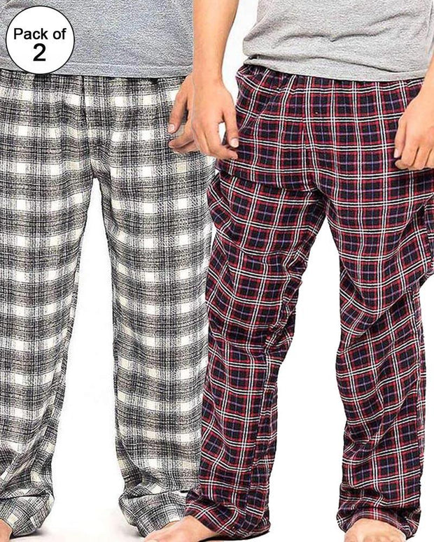 Pack of 2 - Men's Cotton Check Pajama - Cotton Yarn Dyed Flannel Men's Pajama MF-14