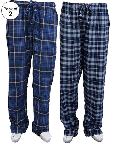 Pack of 2 - Men's Cotton Check Pajama - Cotton Yarn Dyed Flannel Men's Pajama MF-11