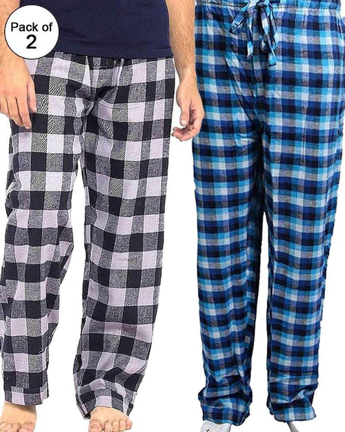 Pack of 2 - Men's Cotton Check Pajama - Cotton Yarn Dyed Flannel Men's Pajama MF-07
