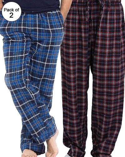 Pack of 2 - Men's Cotton Check Pajama - Cotton Yarn Dyed Flannel Men's Pajama MF-03