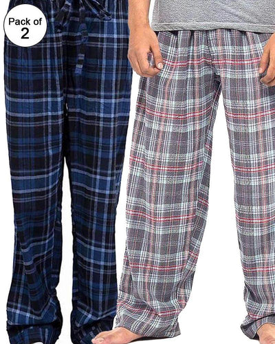 Pack of 2 - Men's Cotton Check Pajama - Cotton Yarn Dyed Flannel Men's Pajama MF-02