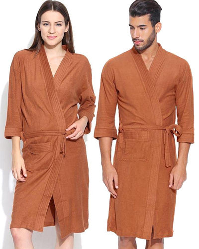 Pack of 2 Wedding Bridal Unisex Bathrobe Soft Cotton - Brown