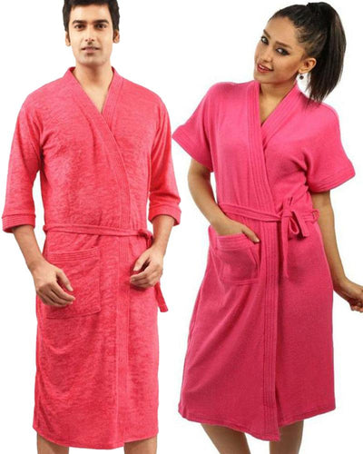 Pack of 2 Wedding Bridal Unisex Bathrobe Soft Cotton - Hot Pink
