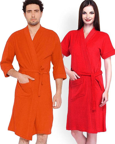 Pack of 2 Wedding Bridal Unisex Bathrobe Soft Cotton - Red