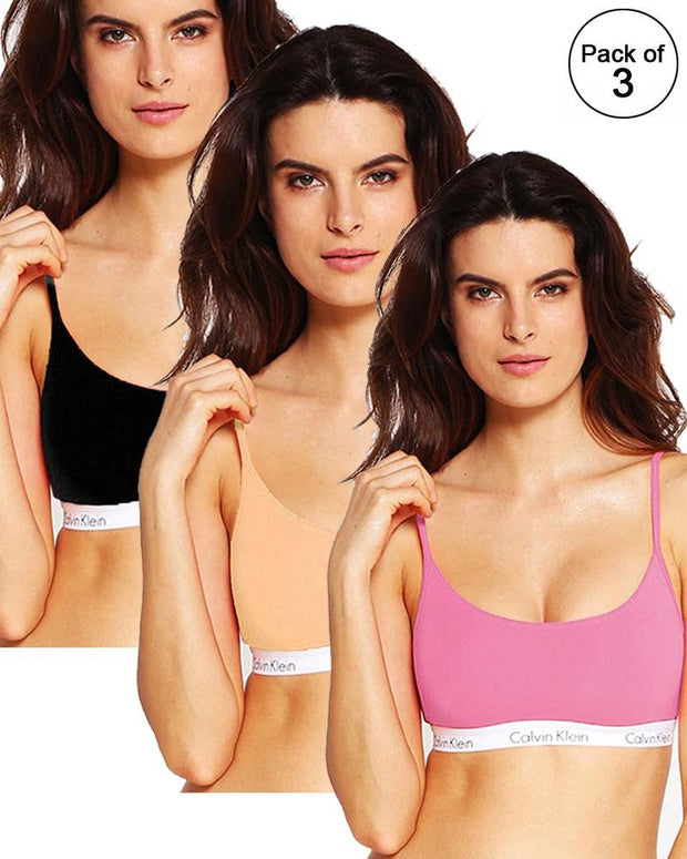 Pack of 3 - Sports & Jim, Yoga Non Padded Wirefree Bra For Ladies - Girls Sports Bra By Ck - Calvin Klein