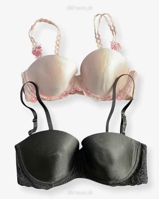 Imported Stocklot Branded  Net Pushup Bra - Underwired Bra  -Padded Bra - Pack of 2