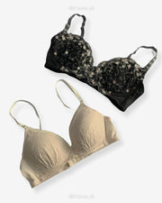 Imported Stocklot Branded  Net Pushup Bra - Underwired Bra  -Non Padded Bra - Pack of 2