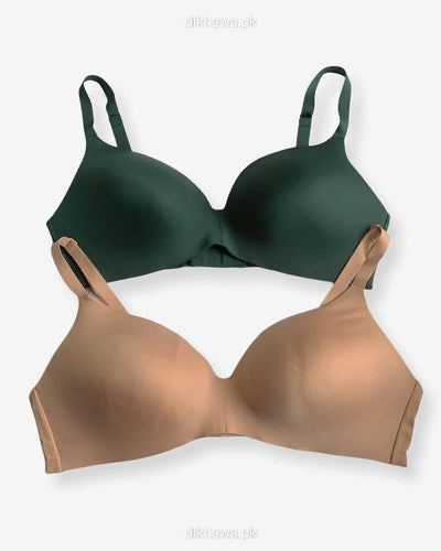 T-Shirt Bra - Soft Padded Imported Stocklot Branded Pushup Bra - Non Wired Bra -Single Padded Bra - Pack of 2