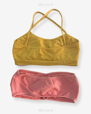 Pack off 2 - Women Tube Lightly Non Padded Bra - Strapless Sports Bra - Soft & Non Padded Bra