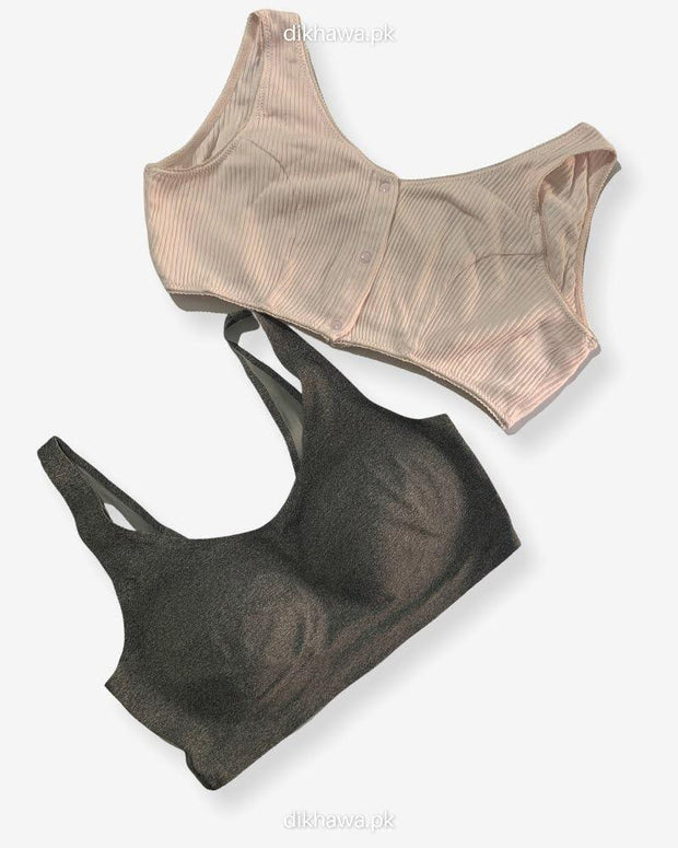 Pack of 2 - Front Open Bra with Button - Non Padded  Non Wired Bra Imported Stocklot Branded Front Open Bra