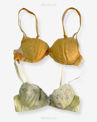 Imported Stocklot Branded  Net Pushup Bra - Underwired Bra  -  Non Padded Bra - Pack of 2