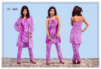 3 Pcs FL-664 - Pink Flourish Exclusive Bridal Nighty Set Collection