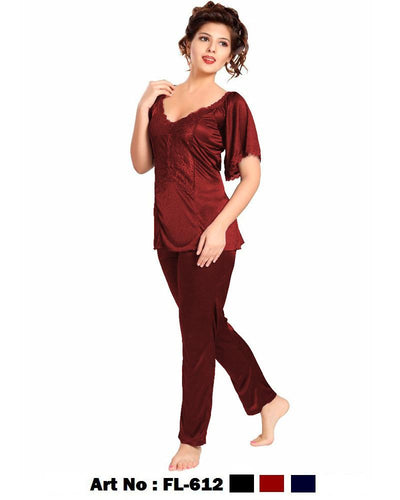 2 Pcs FL-612 - Maroon Flourish Exclusive Bridal Nighty Set Collection