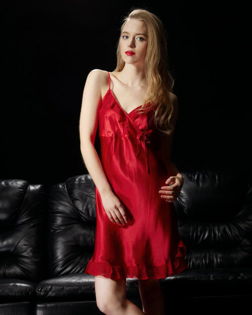 Red - Solid Satin Chemise With Chiffon – CHE10-RD