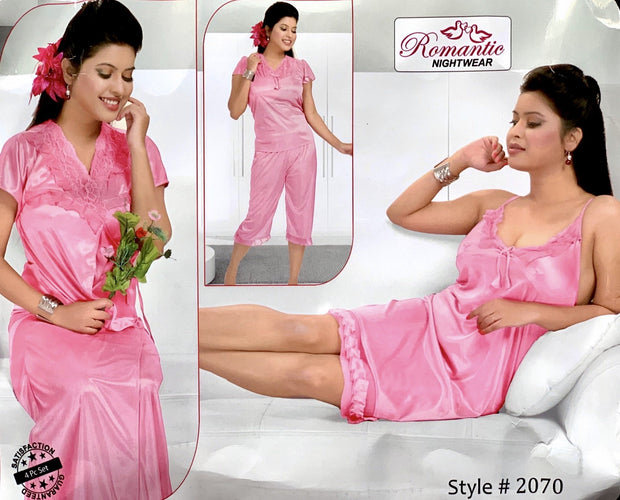 Romantic Nightwear - 4Pcs Bridal Nighty Sets - 2070 - Short Nighty with Gown & Sexy Pajama Set