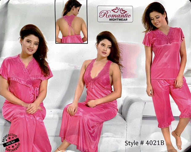 Romantic Nightwear - 4Pcs Bridal Nighty Sets - 4021 - Long Nighty with Gown & Sexy Pajama Set