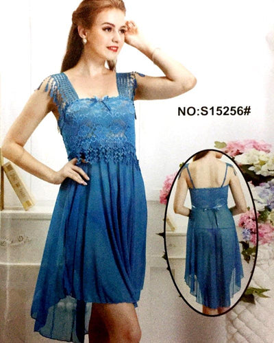 Romantic Net Short Nighty For Women - S15256