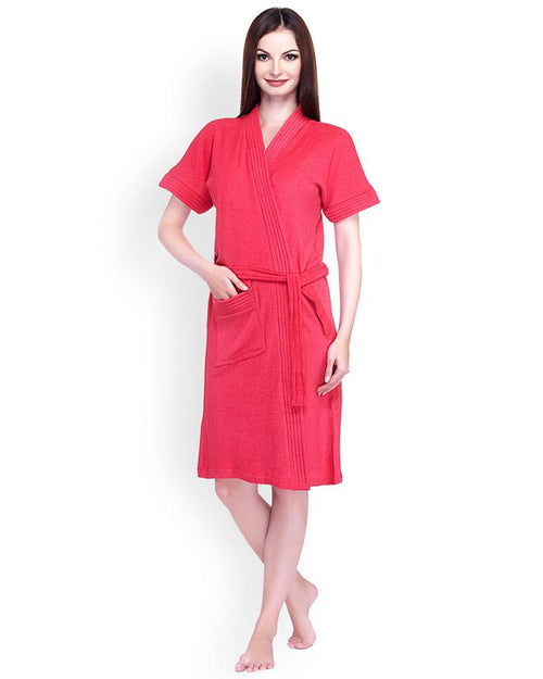 Buy Ladies Bathrobe Soft Cotton - Red Online in Karachi, Lahore, Islamabad, Pakistan, Rs.{{amount_no_decimals}}, Ladies Bathrobe Online Shopping in Pakistan, Thailand Lingerie, Bathrobe, cf-type-ladies-bathrobe, cf-vendor-thailand-lingerie, Clothing, Color = Red, Lingerie, Lingerie & Nightwear, Made in Thailand, Material = Cotton Towel, Nightwear, Size = Free, Women, Online Shopping in Pakistan - NIGHTYnight