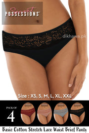 Secret Possessions Panty - Basic Cotton Stretch Lace Waist Brief Panty Pack of 4